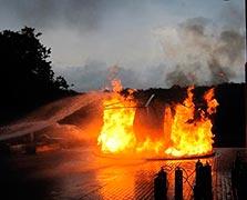 Curso de combate a incêndio em heliponto