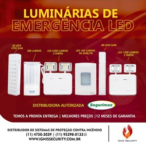 Luminária de emergência de embutir